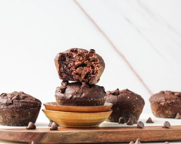 HEALTHY DOUBLE CHOCOLATE CHIP MUFFINS