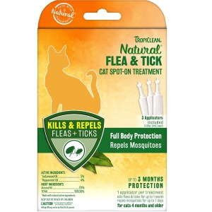TropiClean Natural Flea And Tick Spot-On Treatment Best Flea Treatment For Cats