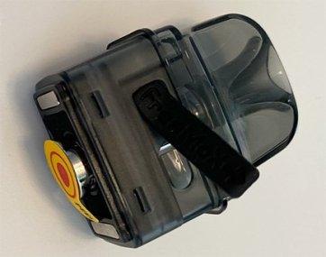 Onnix pod showing juice door and peel tab