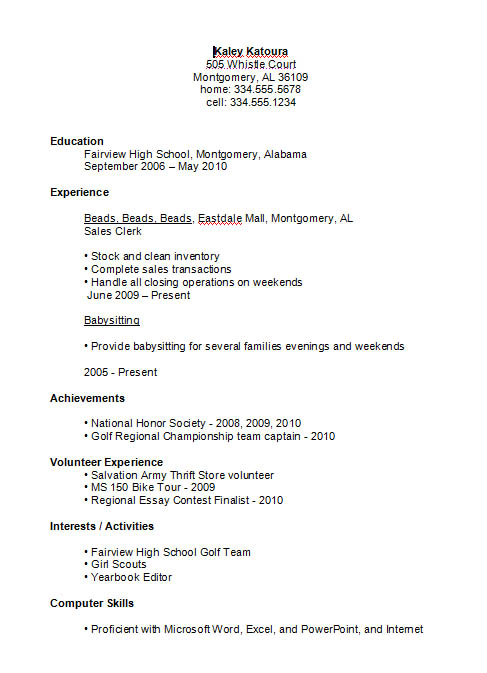 First Time Resume Student. Sample Resumes For High School Students
