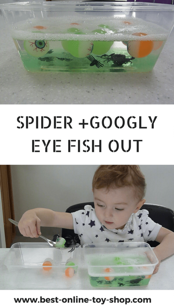 Spider and Googly Eyes Slime Fish Out- Halloween Fine Motor Skills Activities