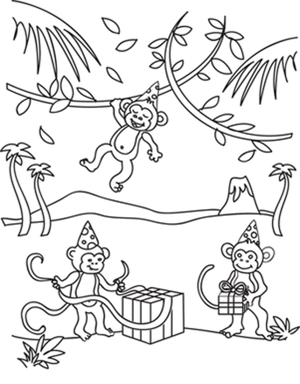 Print & Download - Coloring Monkey Head with Monkey Coloring Pages -