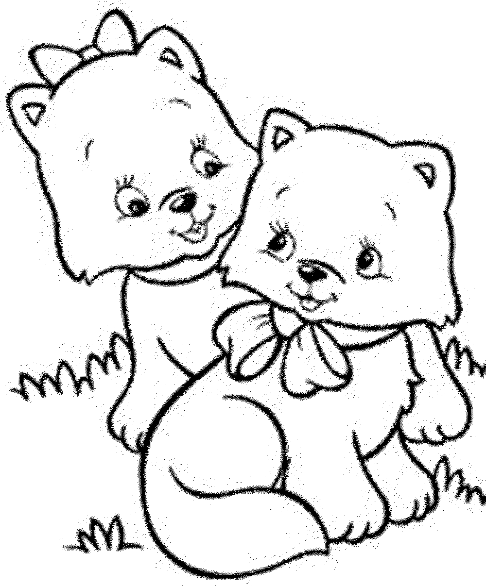 Two Cat Coloring Pages