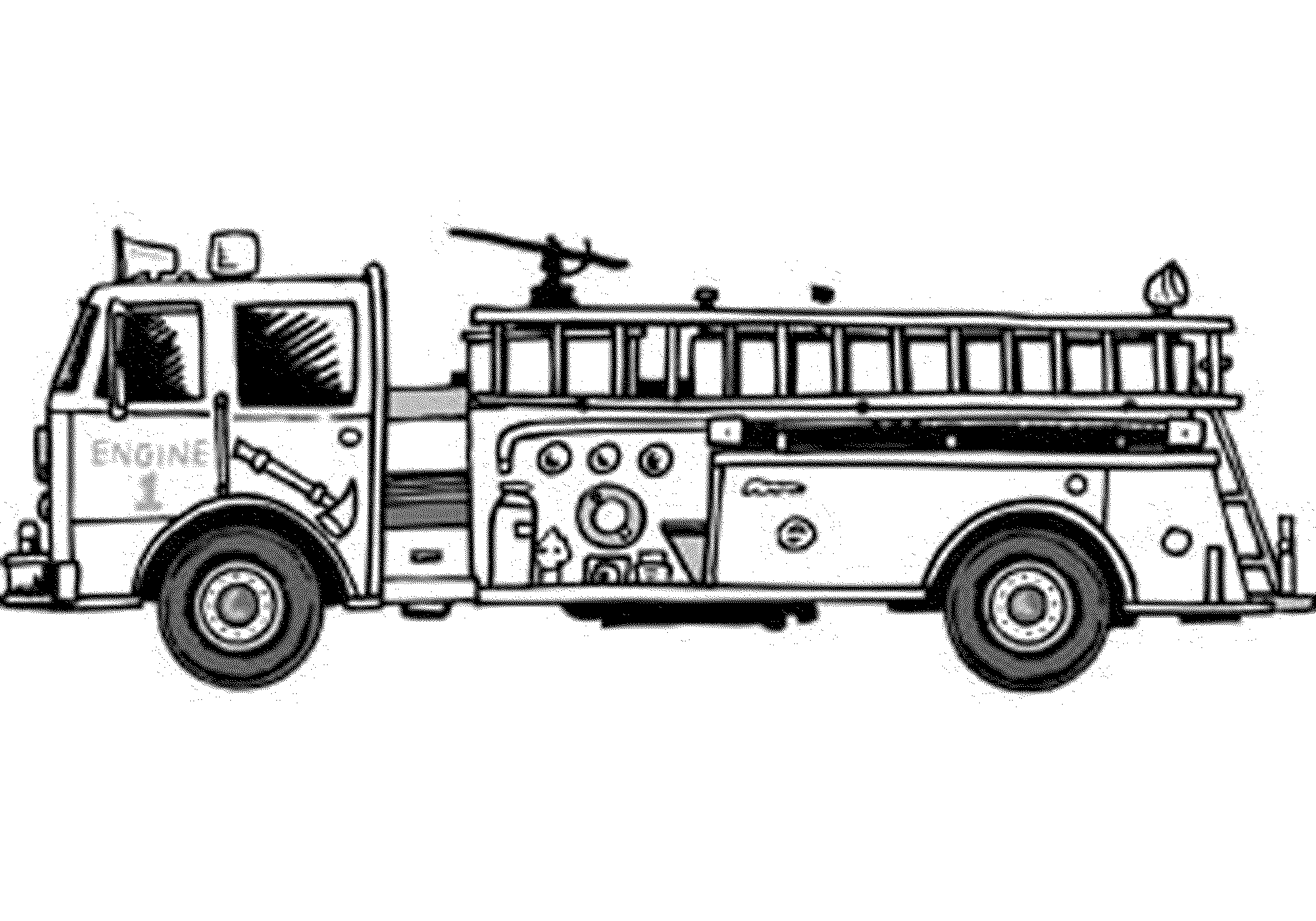 Fire Engine Diagram In Color Wiring Third Level Library Sketch Big Truck Coloring Page