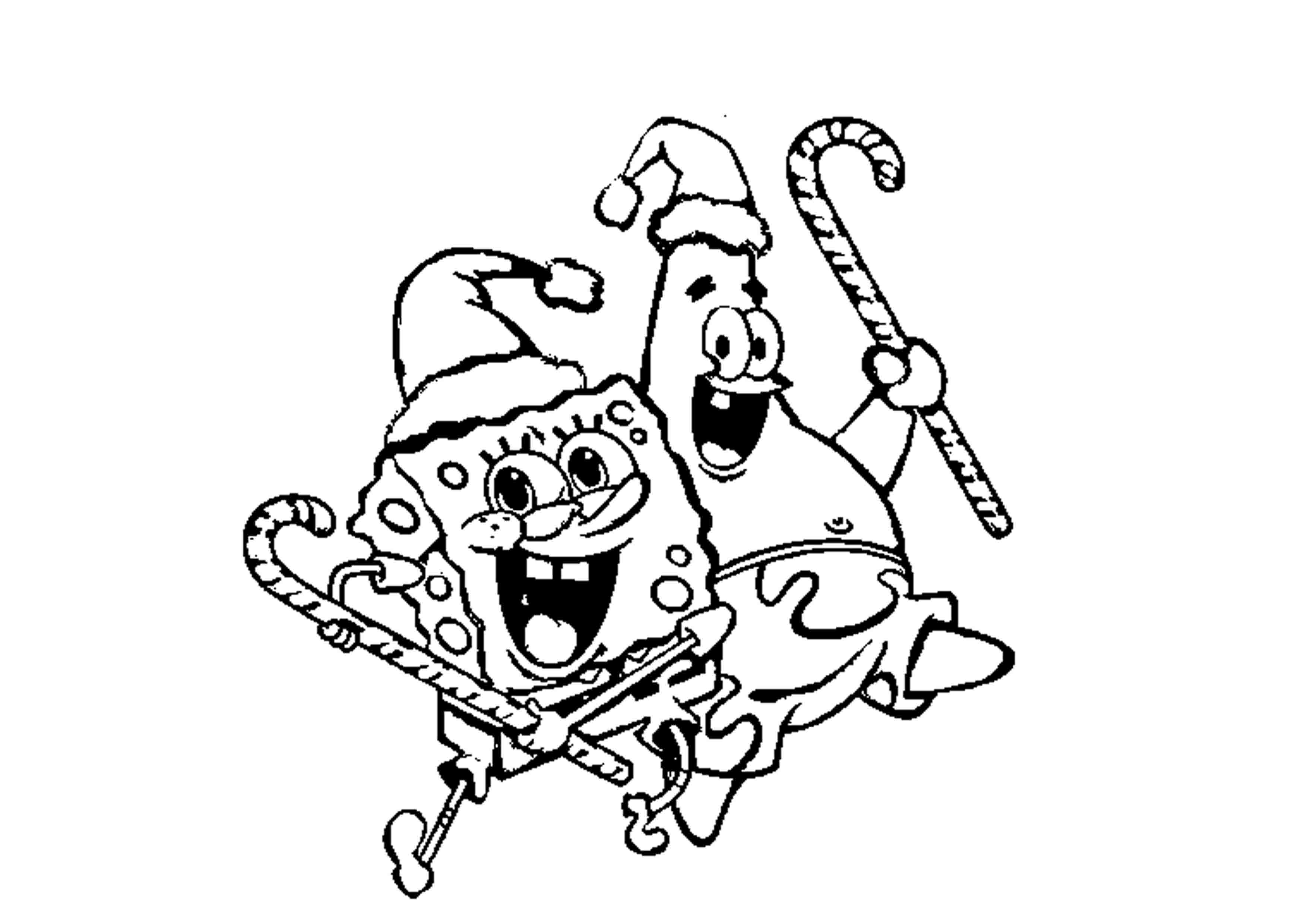 Patrick Spongebob Christmas Coloring Pages Printable