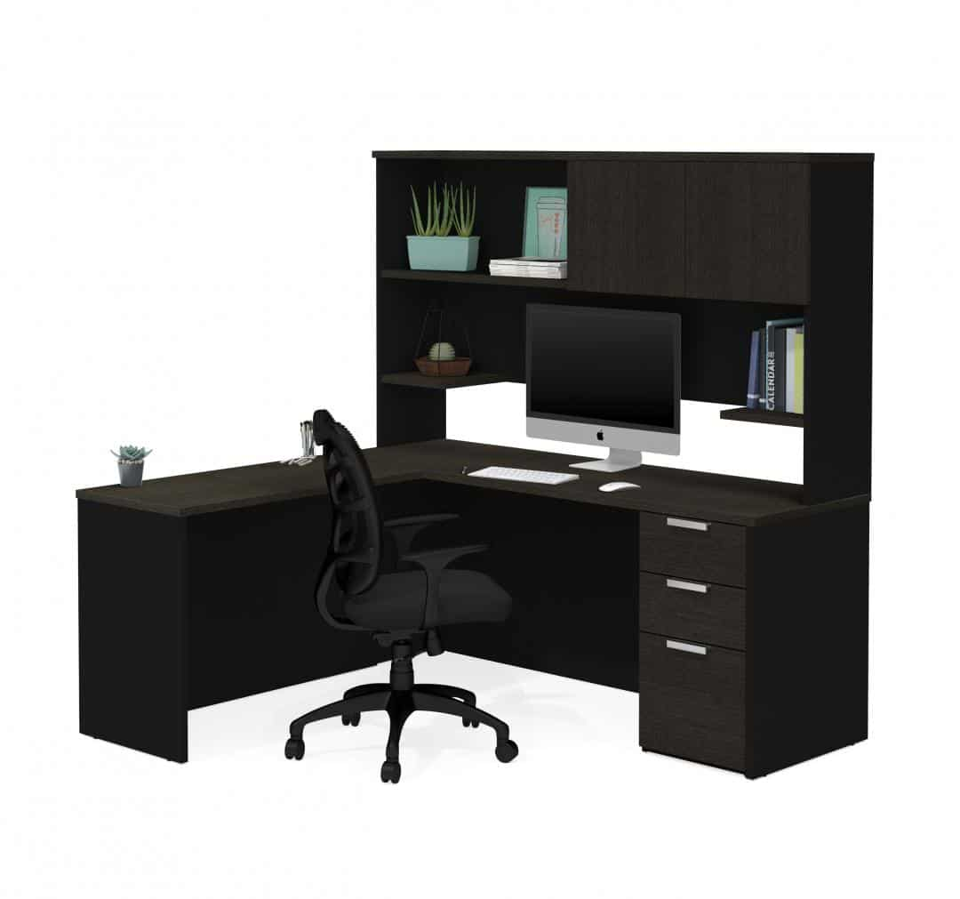 Pro Concept Plus L Shaped Desk With Pedestal And Hutch Bestar
