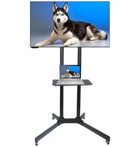 Husky Mounts FS-411 Heavy Duty Adjustable Rolling TV Stand
