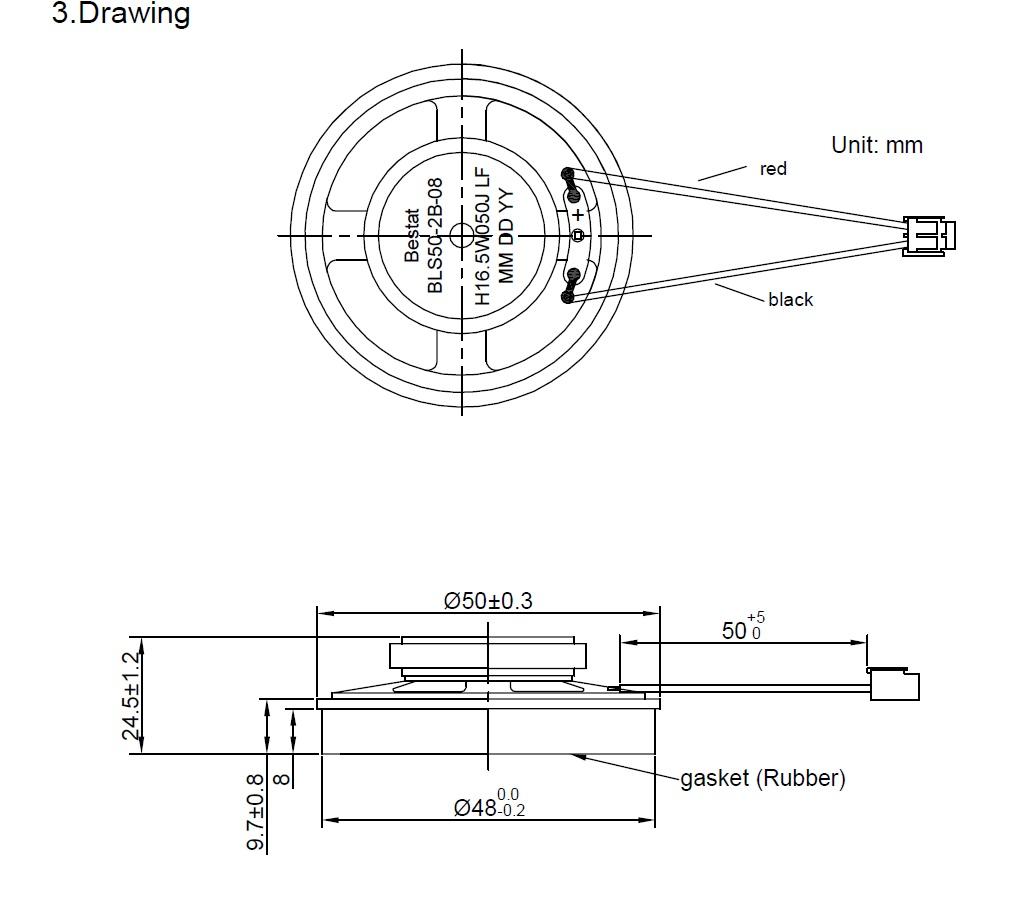 Round Speaker Diameter 50mm 0 3w 8 Ohms