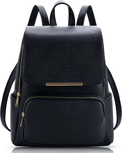 Coofit Black Leather Backpack