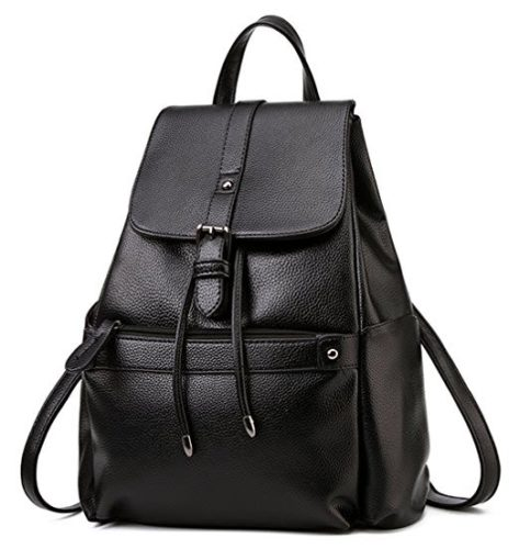 Coofit Women Black Leather Backpack