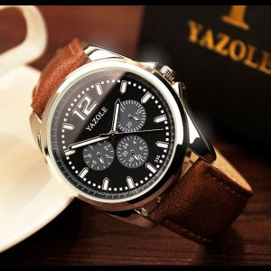 Yazole 335 Men's Leather Strap Wrist Watch