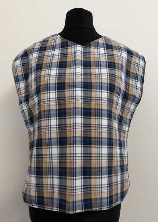 Blue and white tartan bib