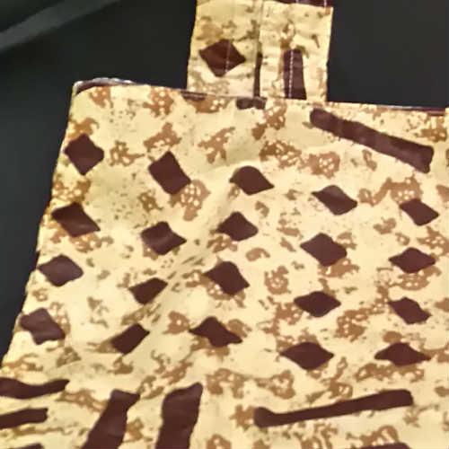 African Fabric Cream and Brown Splash Bag Detail