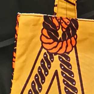 African Fabric Golden Knot Pattern Bag Detail