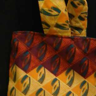 Handmade African Fabric Yellow and Terracotta Bag Detail