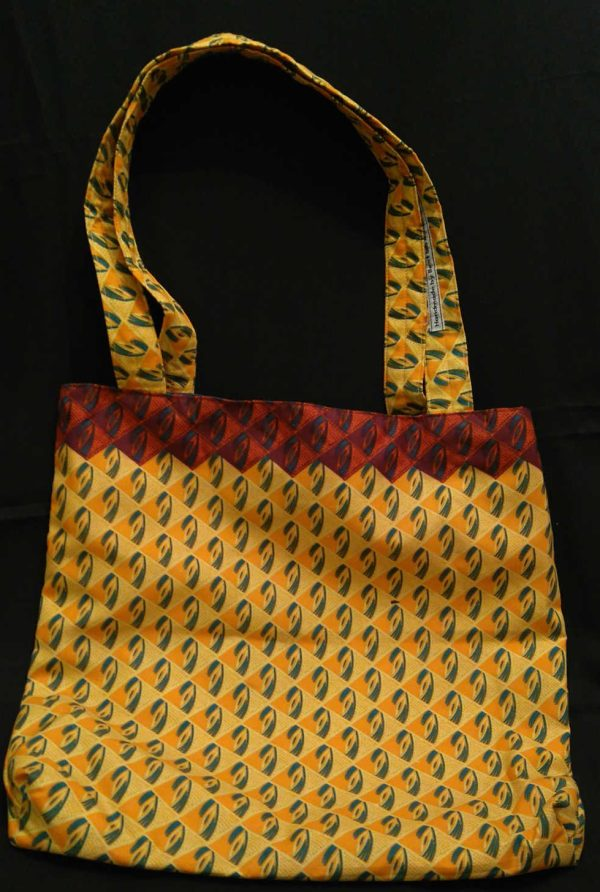 Handmade African Fabric Yellow and Terracotta Bag
