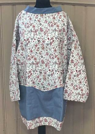Cream with Red Floral Smock with Denim Pockets and Trim