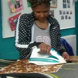 Faith keeping busy at Tartan Ribbon Sewing Class