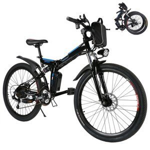 Kaluo Men's Folding Electric Mountain Bike with 36V 250W Lithium-Ion Battery and LED Light