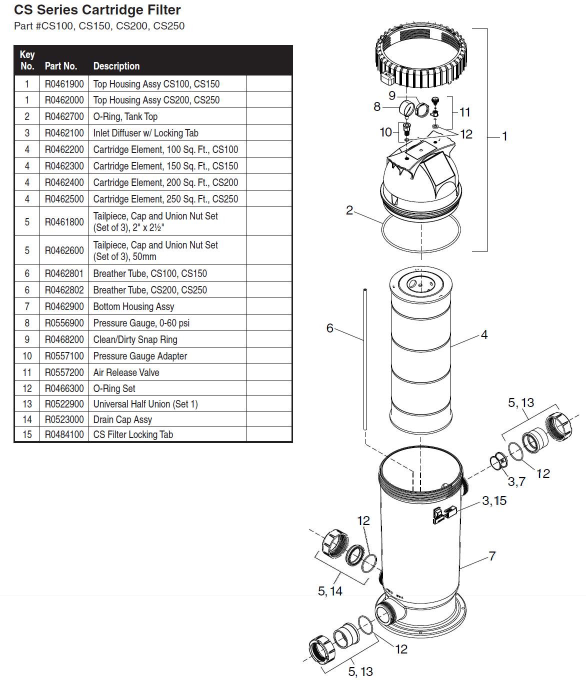 Jandy Cs Series Filter Parts