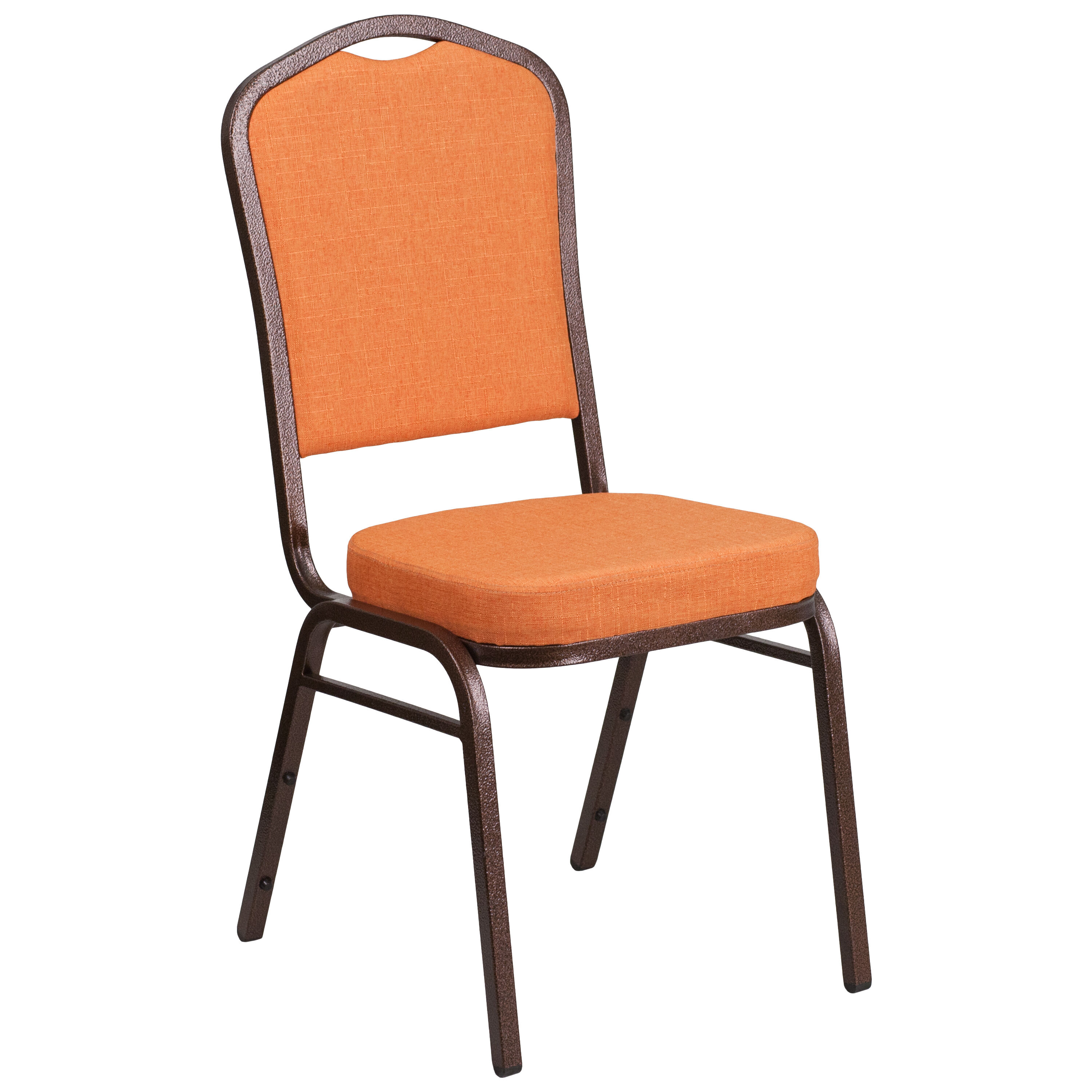 Hercules Series Crown Back Stacking Banquet Chair In Orange Fabric Copper Vein Frame