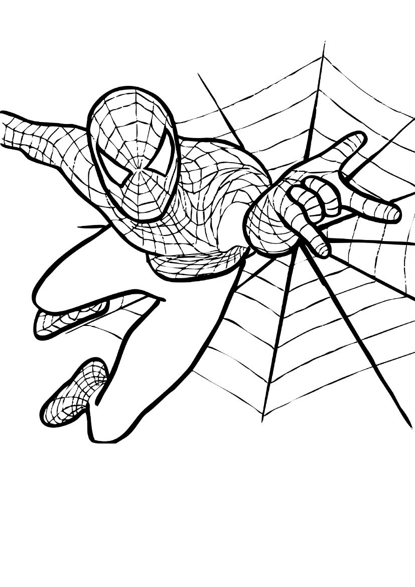 super powers of spiderman shoots his web coloring pages coloring