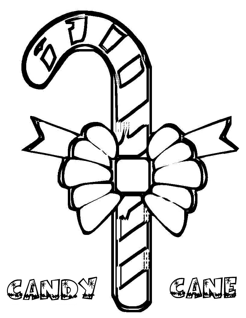 Candy Cane Coloring Sheet - Coloring Home | 1056x816