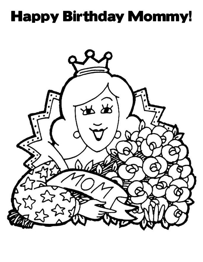 free happy birthday mum coloring pages