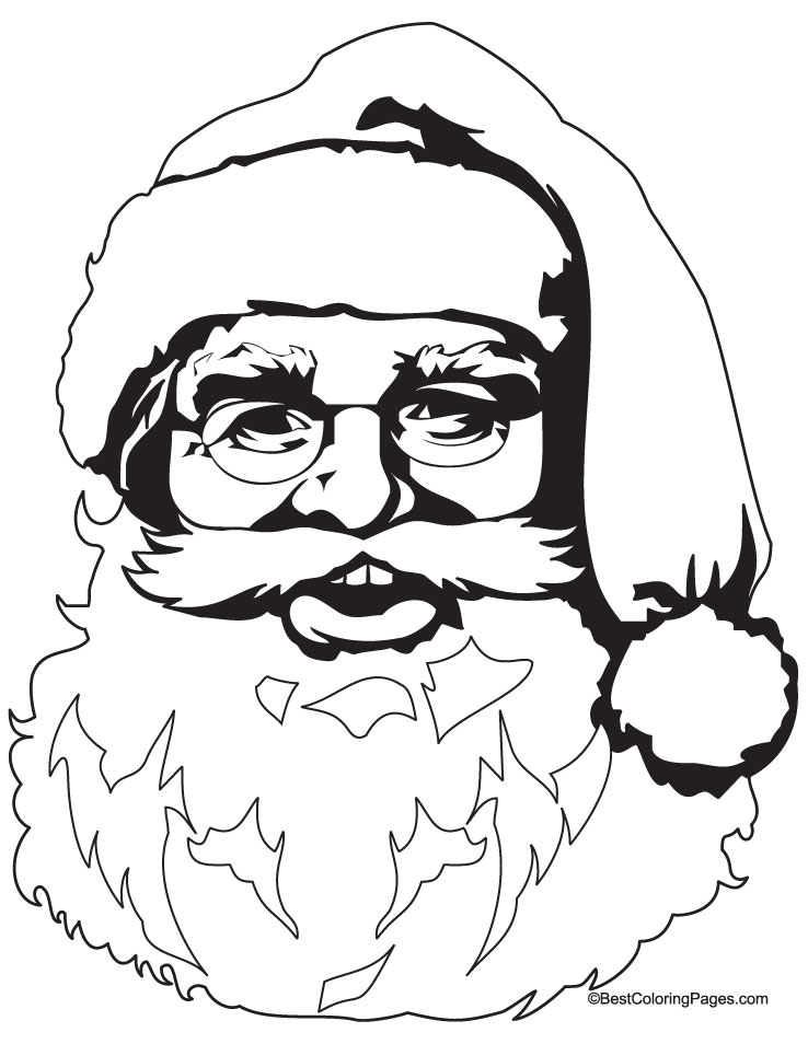 santa face colouring pages