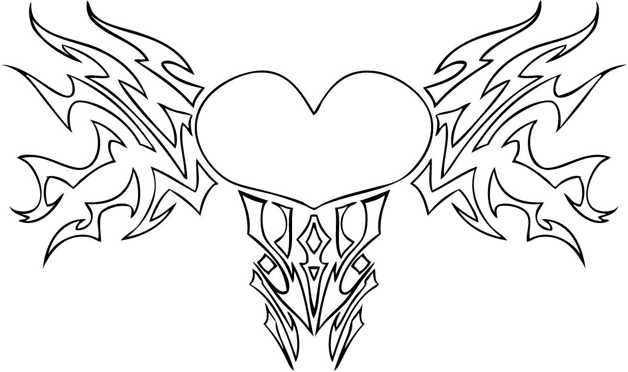 Coloring Pages Of Hearts And Roses #2