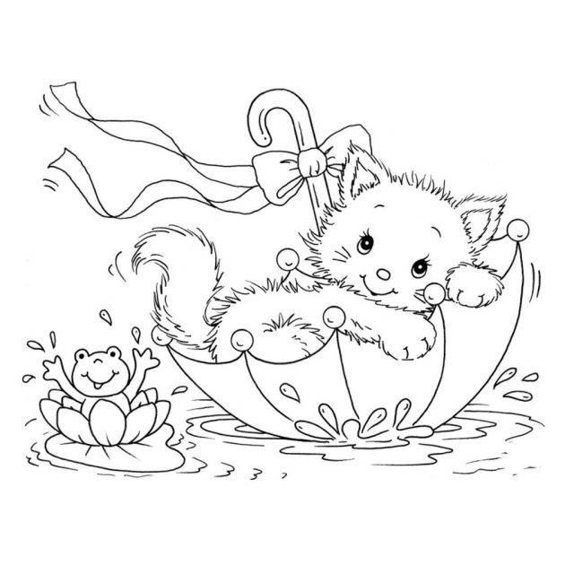 Free printable kitten coloring pages