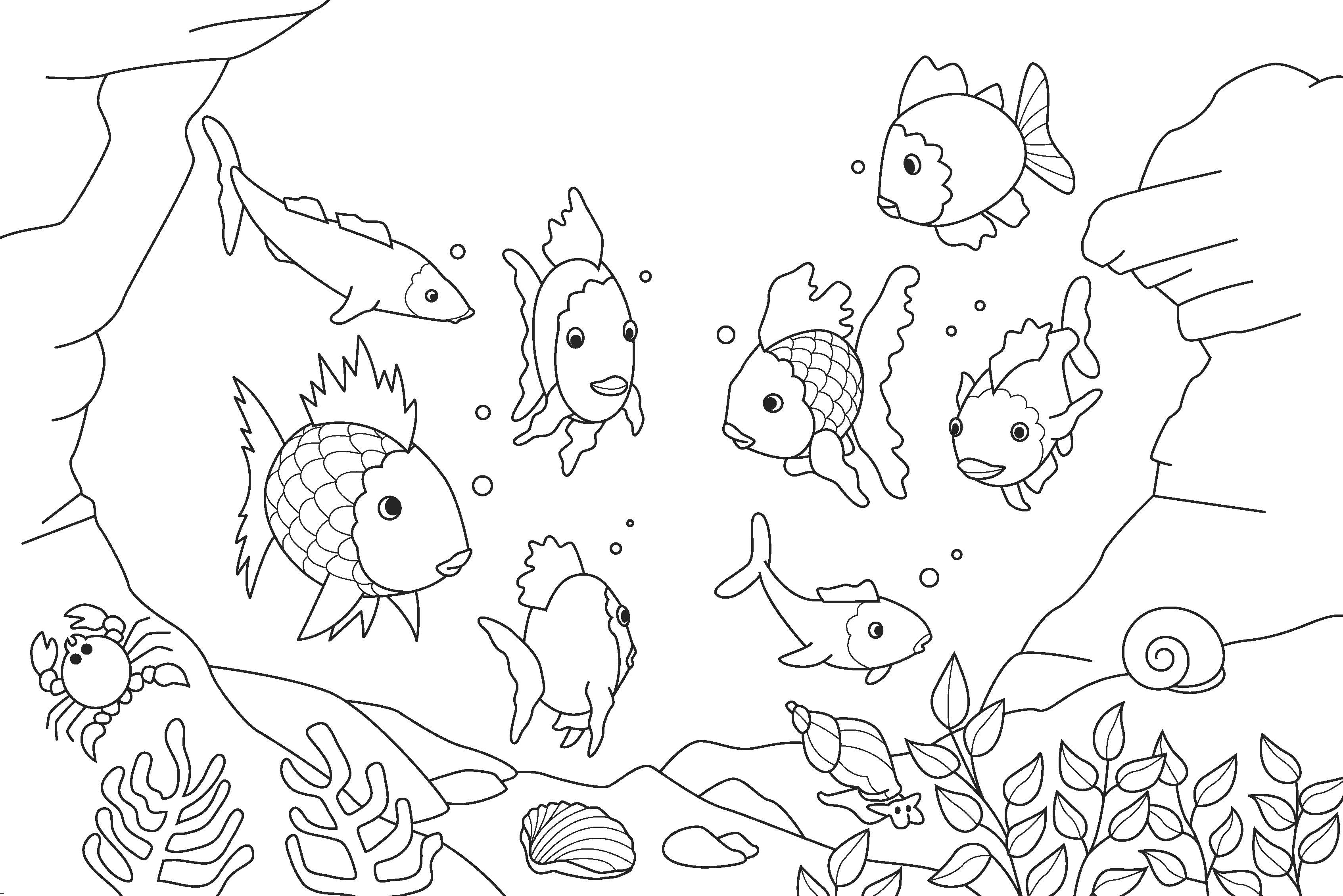 free fishes in fishes in sea coloring pages