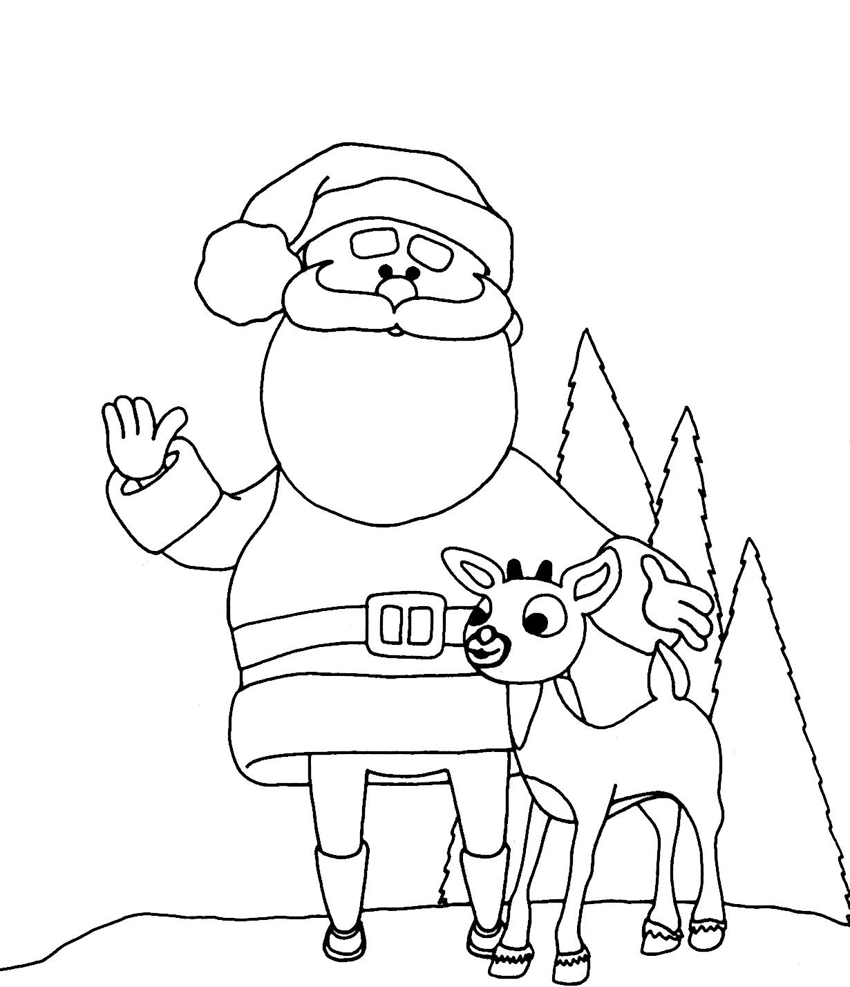 Reindeer Christmas Coloring Pages Rudolph The Red Nosed Reindeer