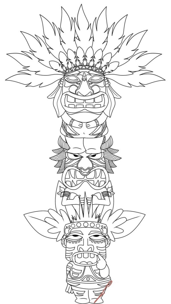 totem pole coloring pages # 17