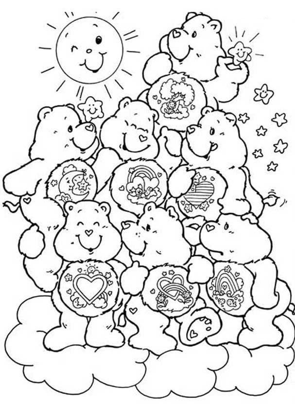 Care Bear Coloring Pages Care Bears Coloring Pages With The Title