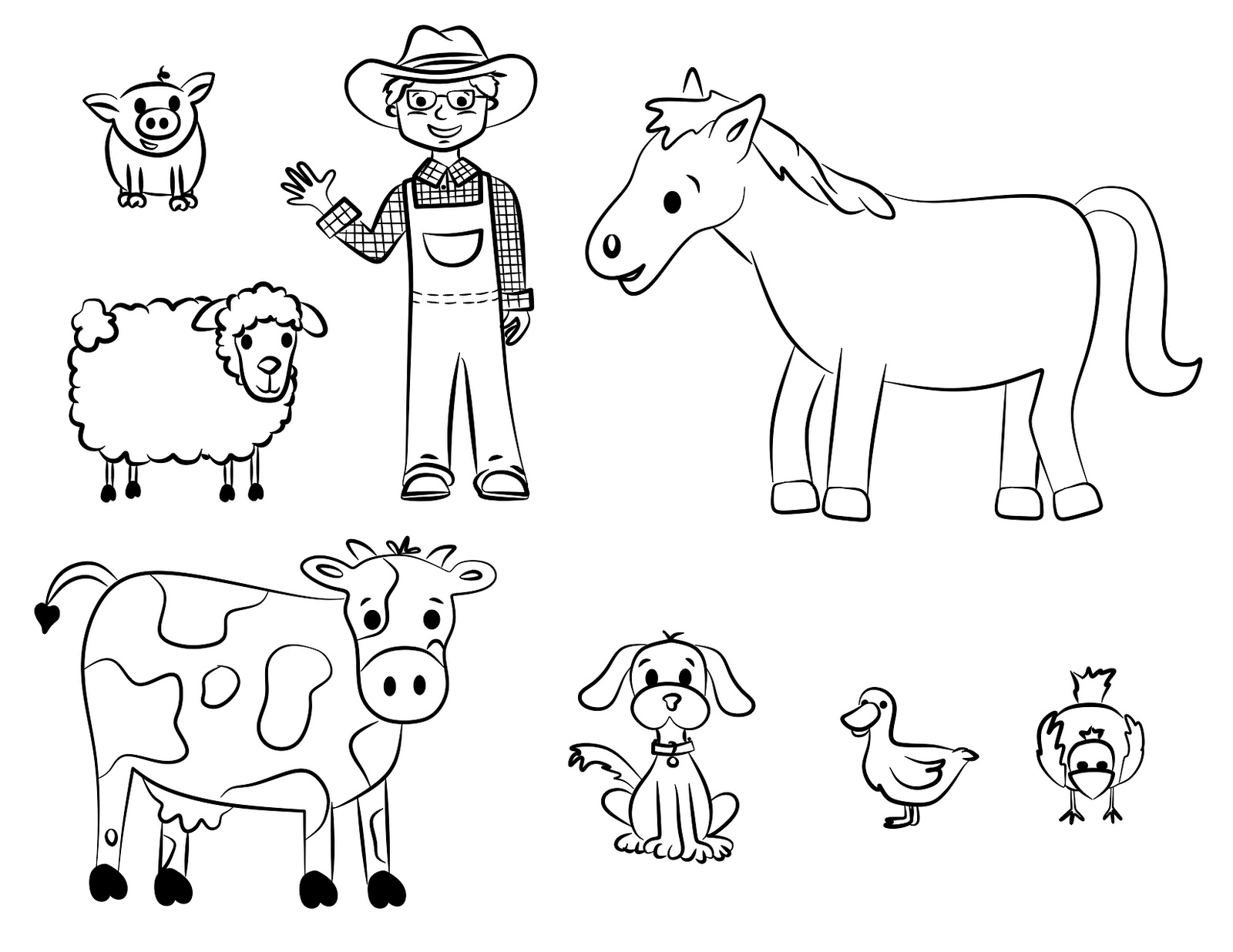 worksheet Farm Animal Worksheets farm animal coloring pages for kids prinable free agertk