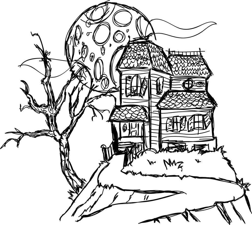 Free Printable Coloring Pages Of Haunted Houses
