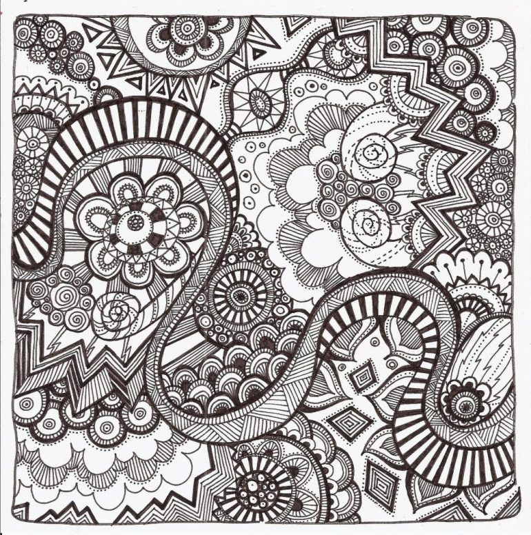 Free Printable Zentangle Coloring Pages for Adults | free printable colouring pages for adults