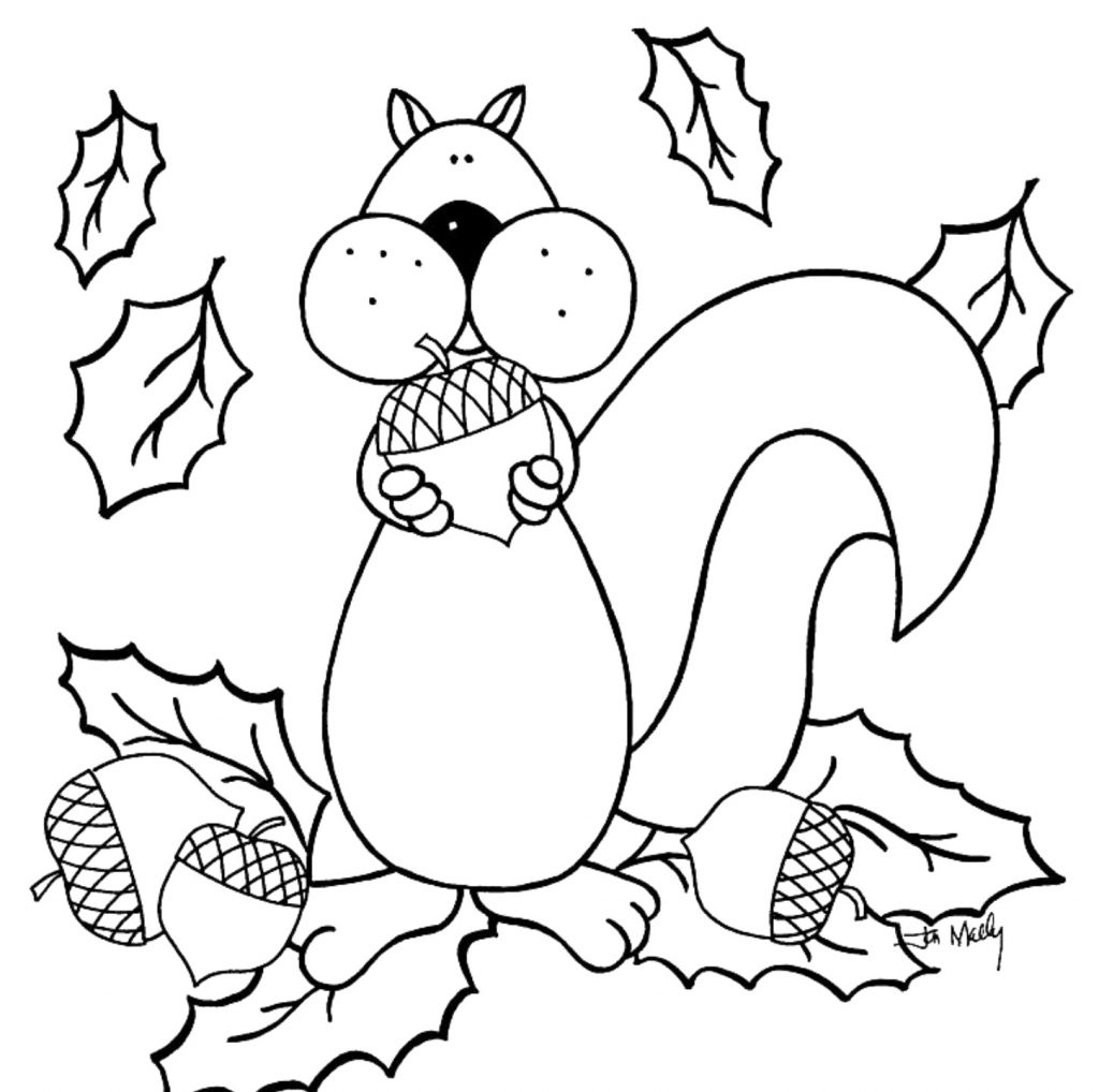 Squirrel Collecting Nuts Fall Coloring Page