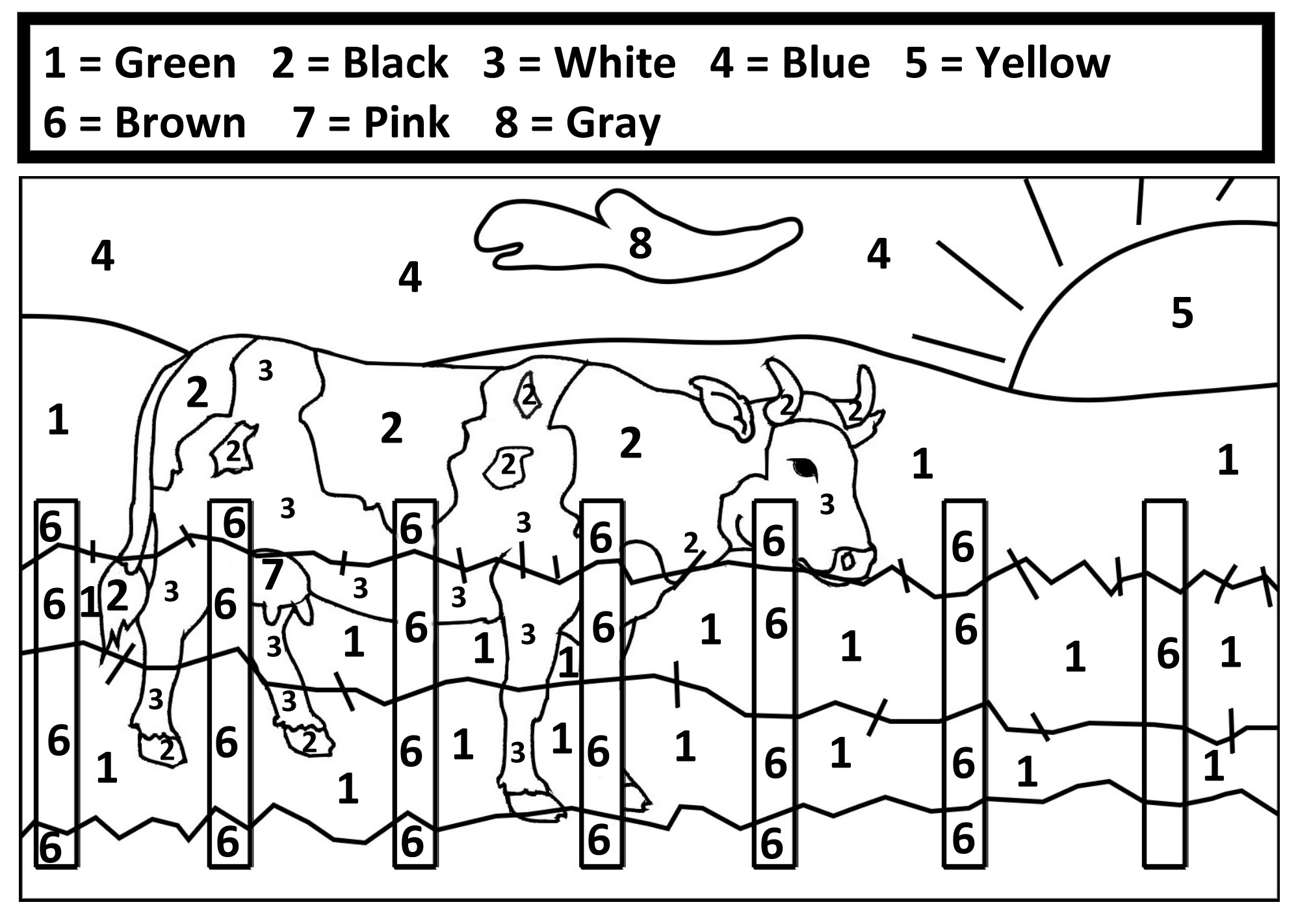 Dolphin Color By Number Worksheets