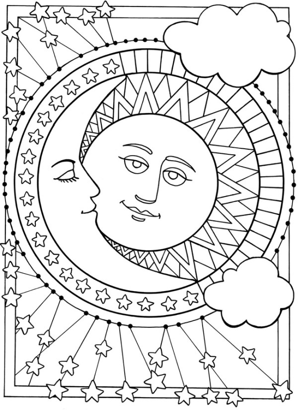sun and moon coloring pages # 4
