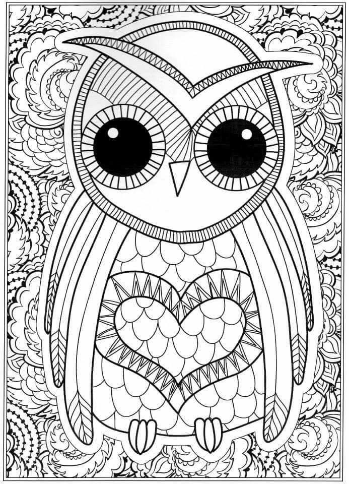 OWL Coloring Pages for Adults. Free Detailed Owl Coloring ... | free printable coloring pages for adults