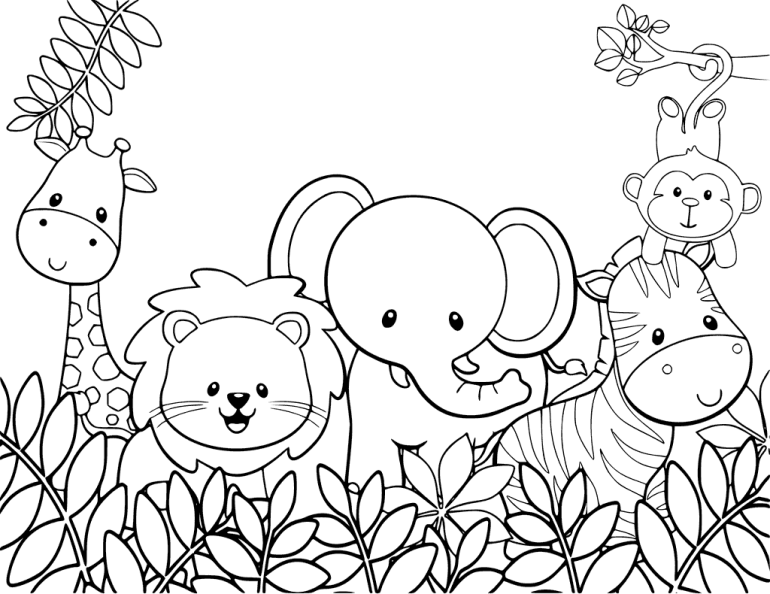 Cute Jungle Animals Coloring Page | animal coloring pages for toddlers