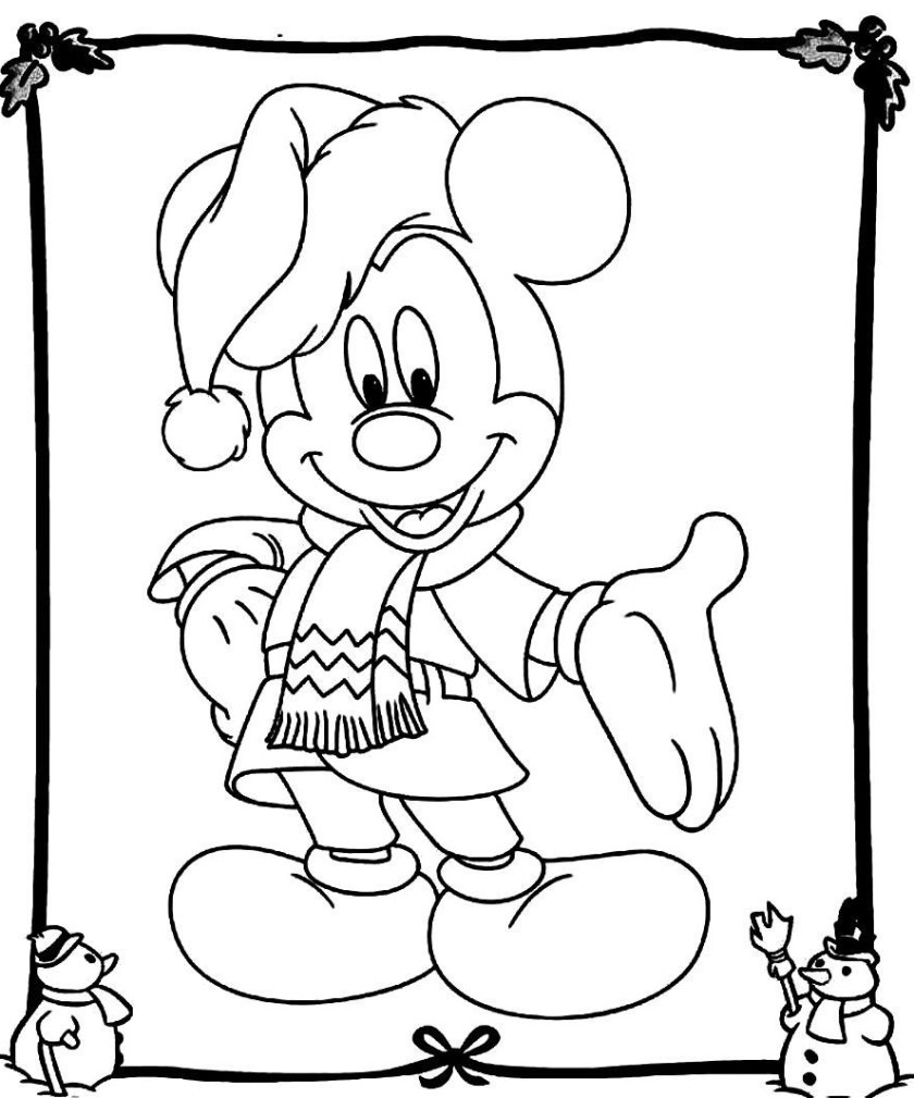 mickey mouse christmas coloring pages  best coloring