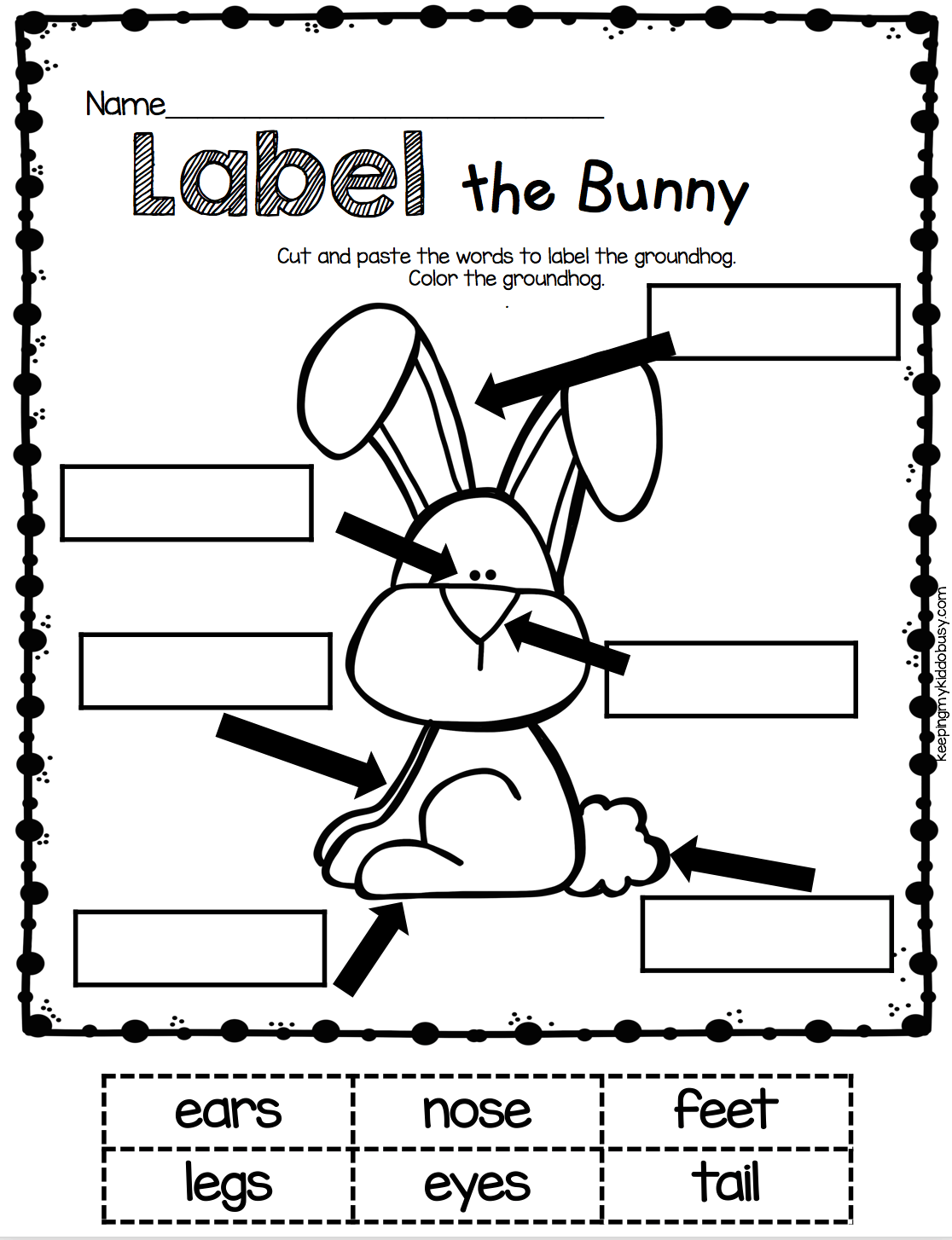 Body Part Worksheet For Kindergarten