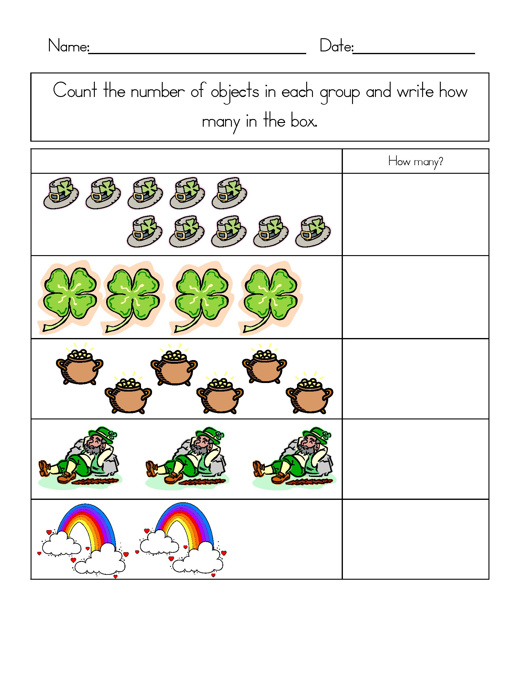 Shamrock Worksheet For Preschool