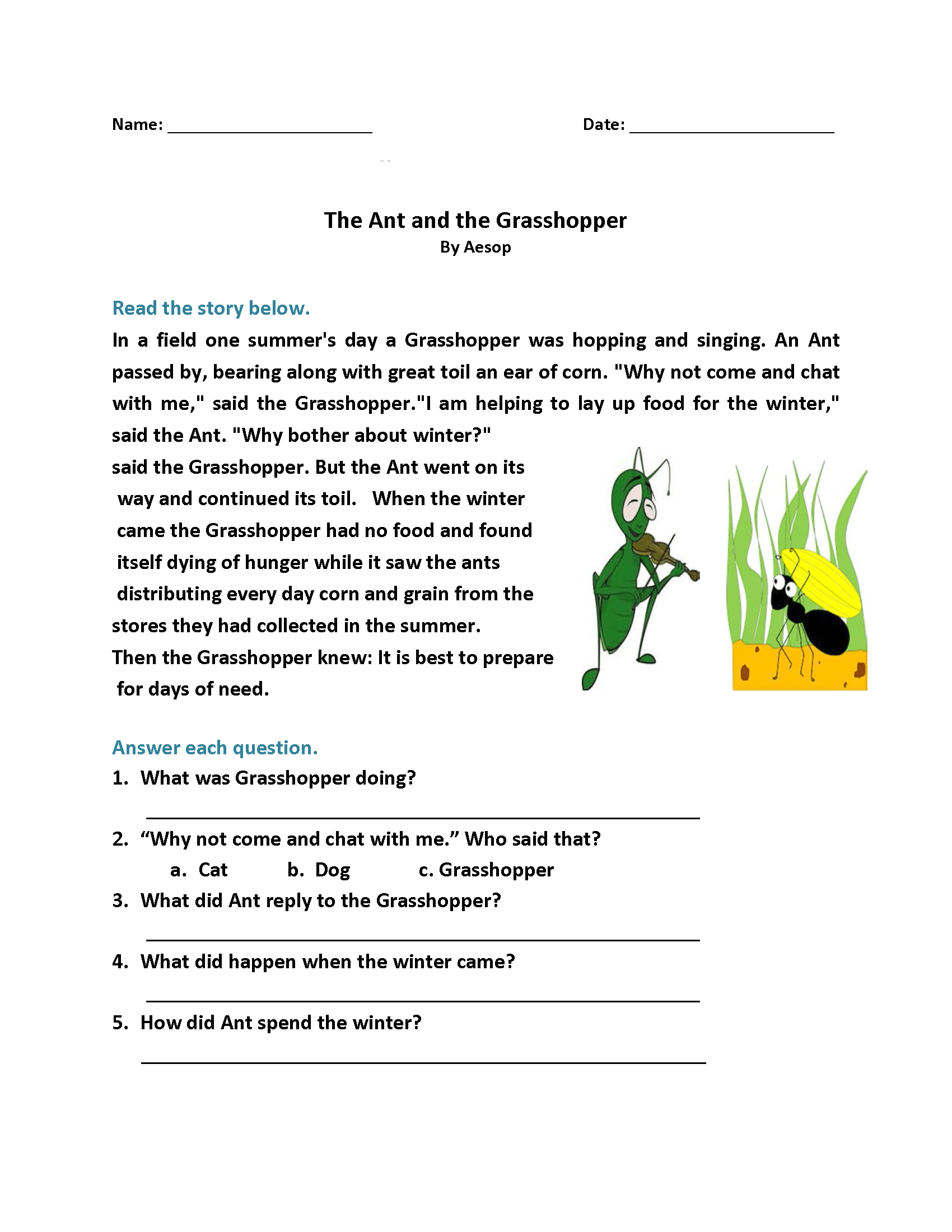 1st Grade Reading Worksheets