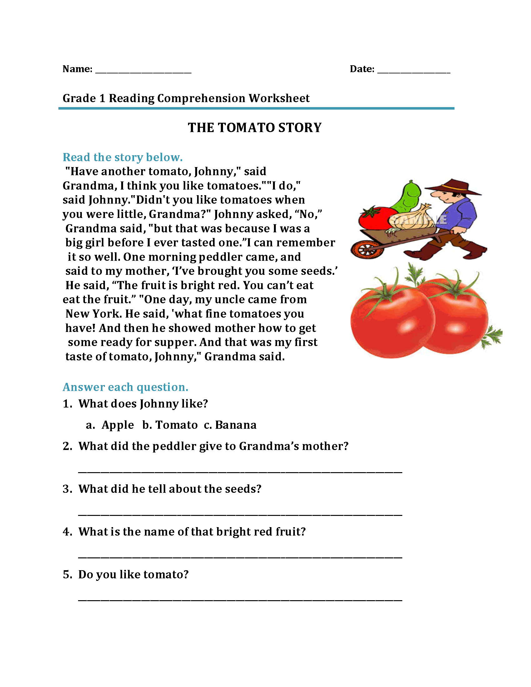 One More Worksheet For 1st Grade