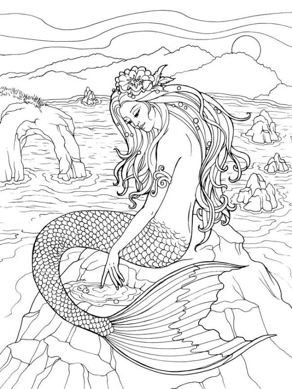 mermaid coloring pages for adults # 8