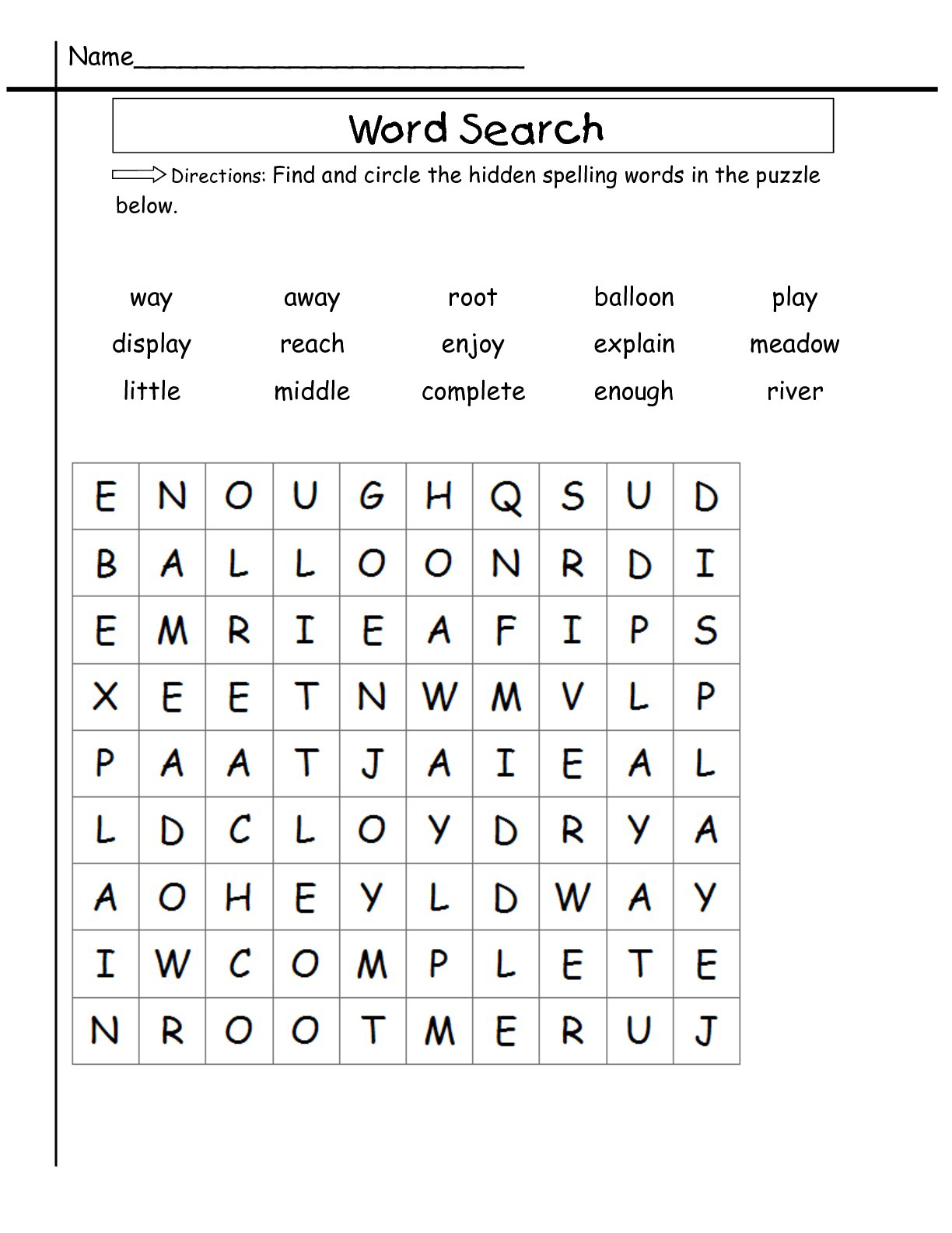 2nd Grade Word Search